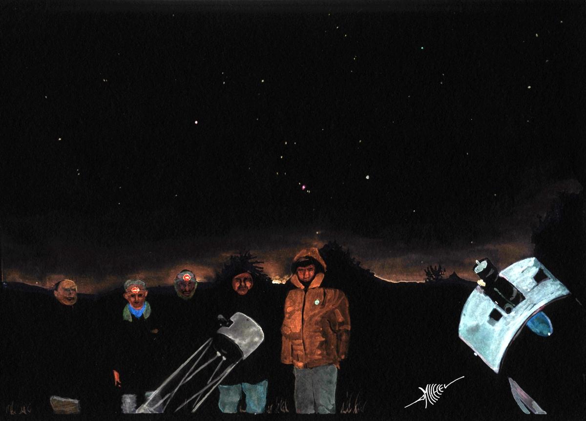 L aquarelle représente le groupe rassemblé pour cette expédition Lovejoy  après deux heures de dense observation. L aquarelle reprend les vues du  ciel de la ... 03e09aab0943